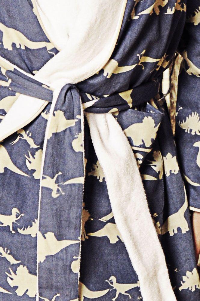 Dinosaur Blue Dressing Gown | Dressing Gown | Boys | Em & Lu | Em&Lu