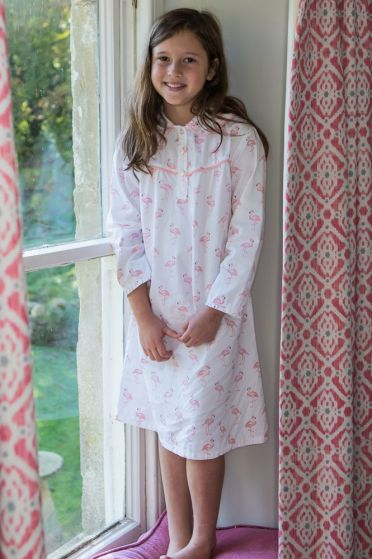 Em&Lu Pink Flamingo Long Sleeve Nightie Lifestlyle