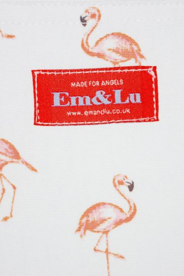 Em&Lu Flamingo Wash Bag Branding Detail