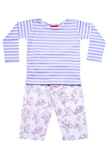 Lilac Blossom Striped T-Shirt Pyjama