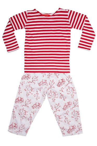Red Blossom Striped T-Shirt Pyjama