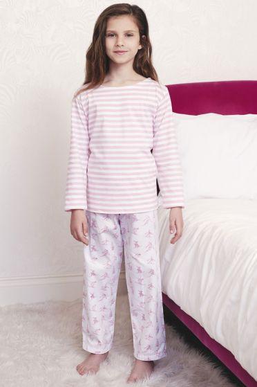 Skiing Pink Striped T-Shirt Pyjama