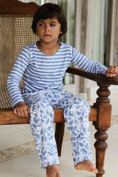 Safari Blue Striped T-Shirt Pyjama