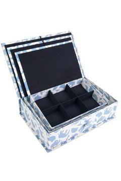 Safari Blue Fabric Box Set Open