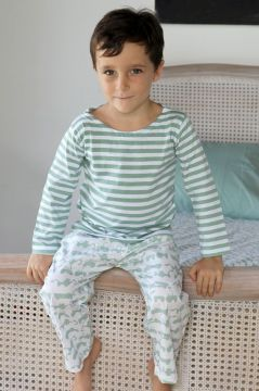 Tractor Green Striped T-Shirt Pyjama