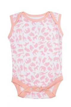 Safari Pink Sleeveless Baby Vest