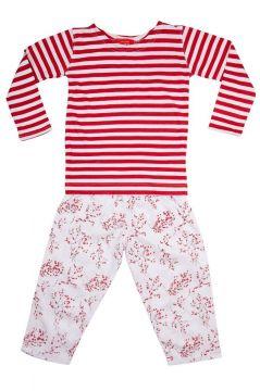 Red Blossom Striped T-Shirt Pyjama