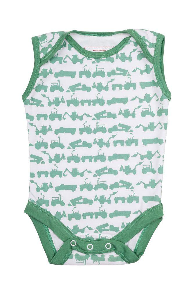 Green Tractor Print Sleeveless Baby Vest Em Amp Lu Em Amp Lu